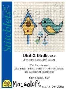 Mouseloft Bird & Birdhouse Stitchlets cross stitch kit